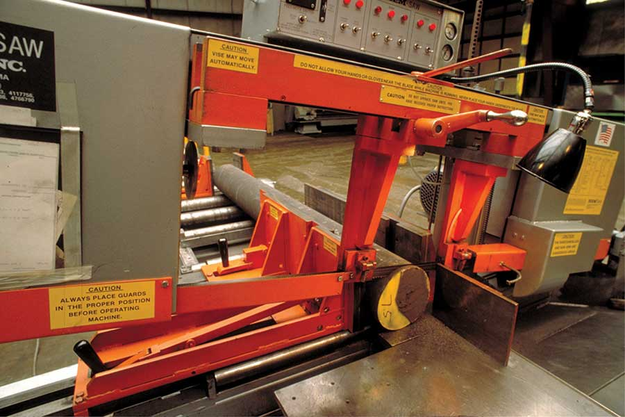 Saw cutting Dura-Bar at Dura-Bar Metal Services
